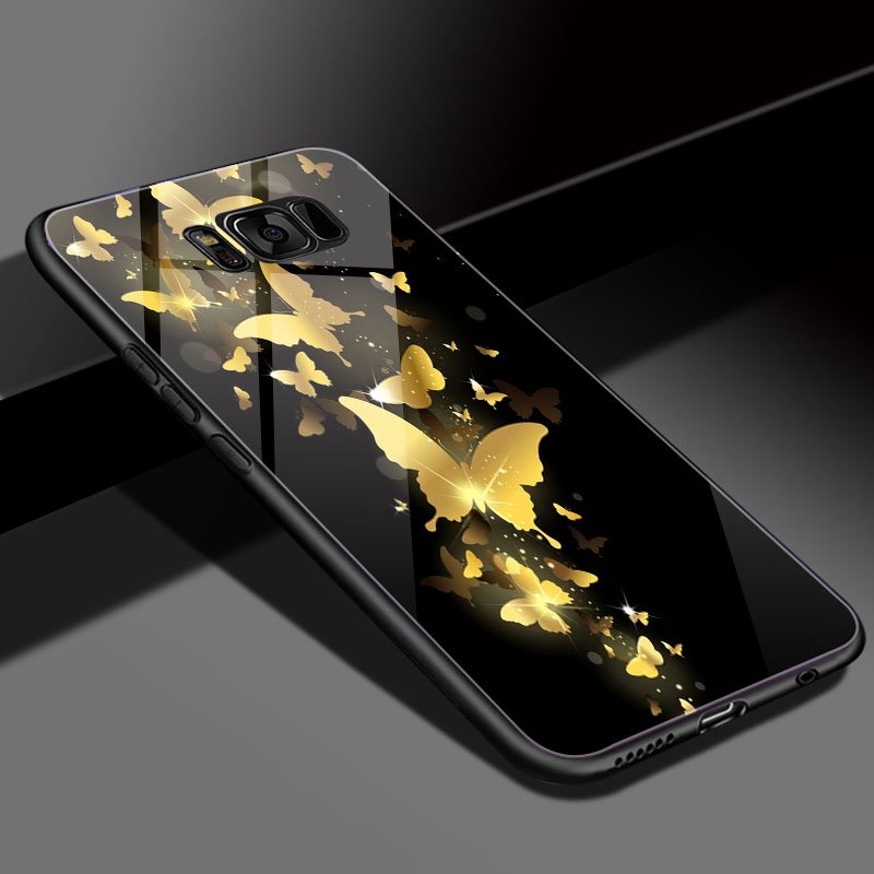 For Samsung S9 Case Tempered Glass Case for Galaxy S9 plus Cover DIY Customized Glass Phone Cover para galaxy S9 S9Plus Coque in Half wrapped Cases from Cellphones Telecommunications