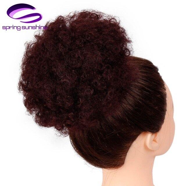 Sol de primavera suave de alta Puff Afro del pelo sintético corto Afro rizado Cola de Caballo de Clip en Chignon