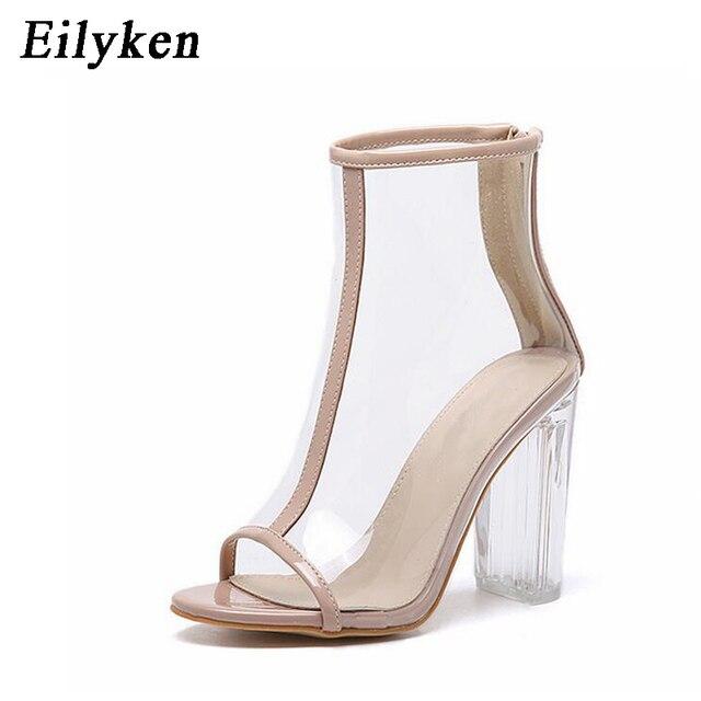 € 20.37 |Eilyken Femmes PVC Clair Talon Transparent Bottes Peep Toe Cheville Bottes Bootie Haute Top Plexiglas Lucite D'été Sandales Bloc 11 CM dans