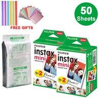 50 листов Fujifilm Instax Mini White Edge пленка мгновенная фотобумага для Instax Mini 8 9 7s 9 70 25 50s 90 SP-1 2 камеры подарки