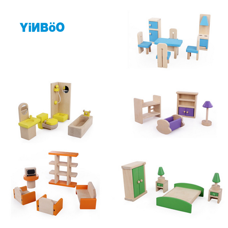 Wooden Delicate Dollhouse Furniture Toys Miniature For Kids Children Pretend Play Dolls Toys 5 styles