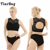 TiaoBug Women Sleeveless Hollow Pole Dance Clothing Activewear Lace Suits Hot Shorts Crop Tops Set Fitness Dance Wear Costume
