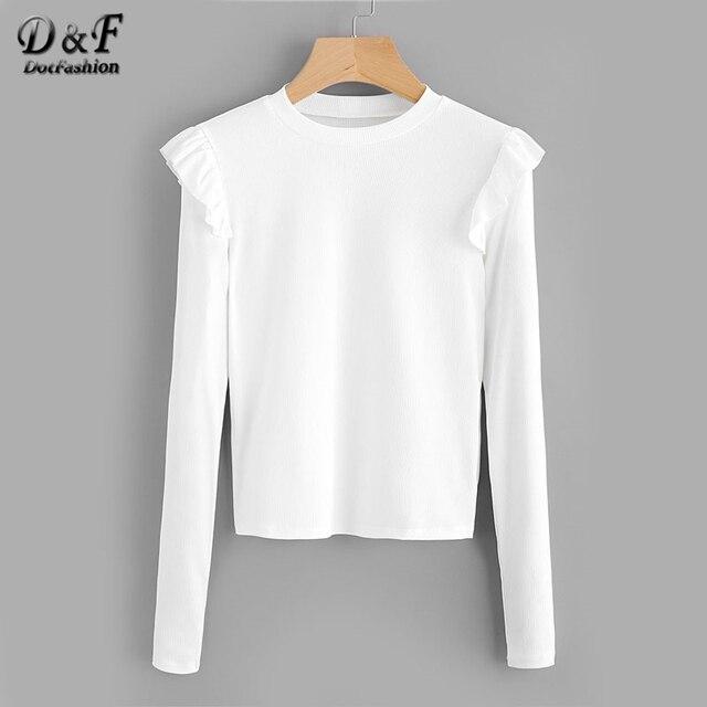 Dotfashion Frill Trim Ribbed Plain Tee Shirt 2017 White Round Neck ...