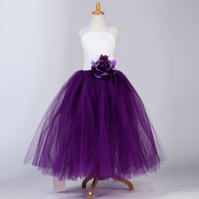 d4fbffe887 Fashion Plus Size Purple and White Cross Back Tutu Tulle Long Evening Girls  Wedding Dresses Girls Gowns with Waist Flower