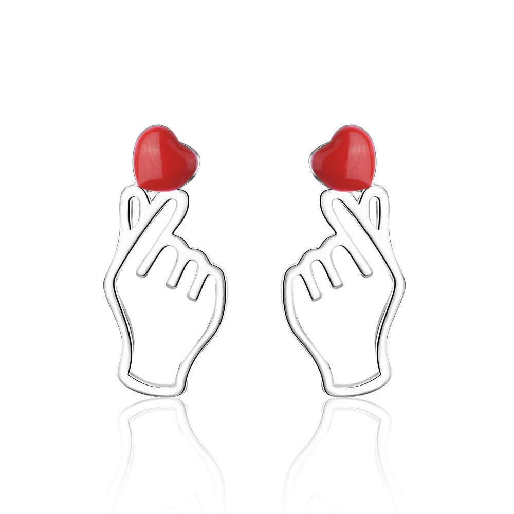 Cxwind brincos compridos engraçados, joias de orelha femininas com corações vermelhos e manchas