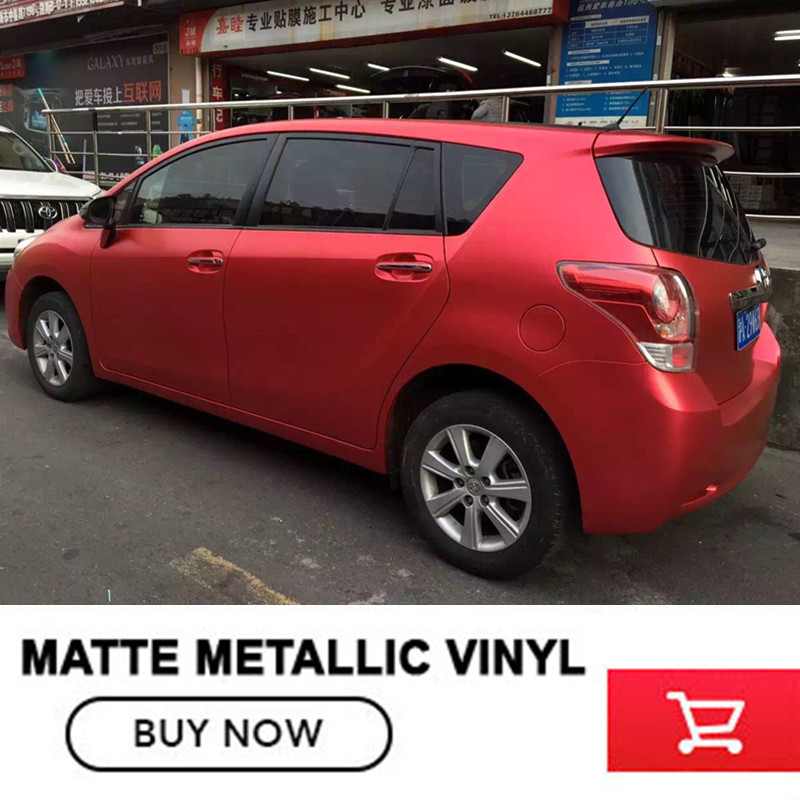 High Quality Satin Metallic Matte Chrome Red Vinyl Wrap Film Roll Bubble Free For Car Styling Size:1.52*20M/Roll quality guarantee silver chrome vinyl film for car wrapping sticker with air bubble free 20m roll
