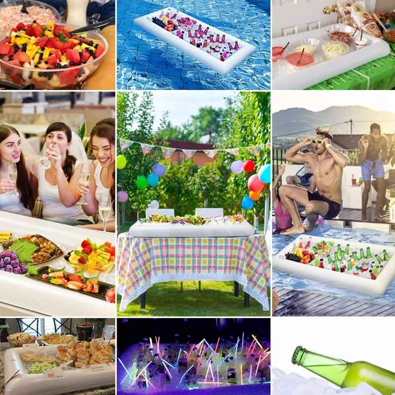 Inflatable Ice Prasmanan Salad Melayani Nampan Makanan Minuman Pemegang Cooler BBQ Piknik Pesta Kolam Renang Perlengkapan XR-Hot