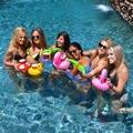 10 Pcs rosquinha flutuante Inflável barcos de pato de borracha da árvore de coco bebida Bebida Titular Armazenamento Flutuante Piscina Praia de Banho Brinquedo