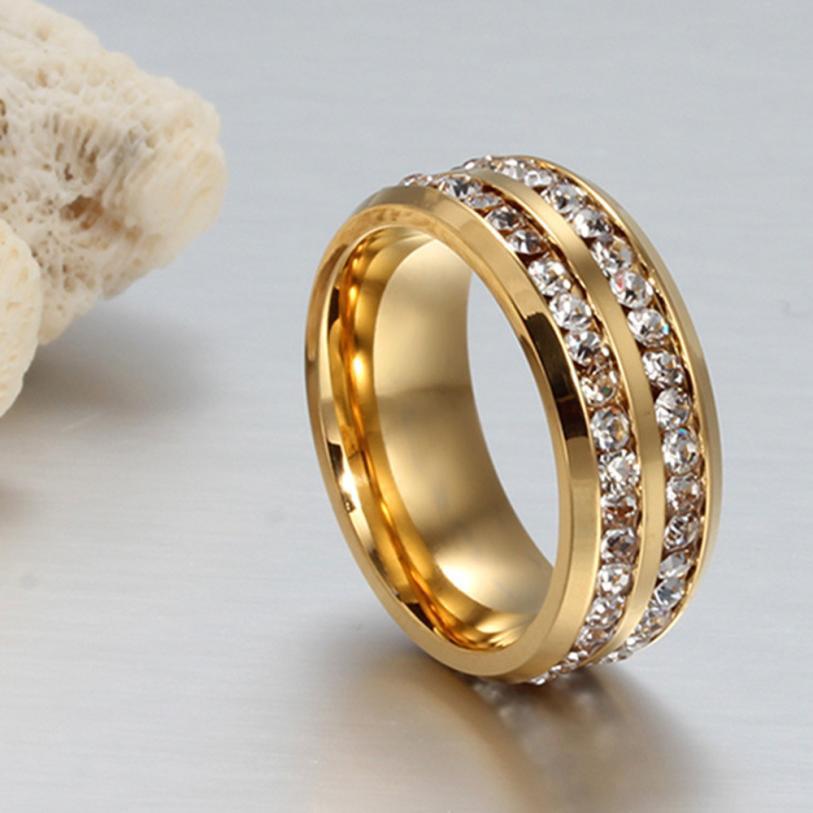 Fashion Unisex Titanium Steel Ring Men Women Wedding Band Silver Gold Size 6-13 Jewelry Delicate