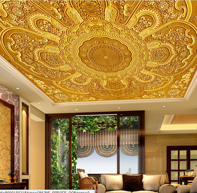 Custom 3d ceiling wallpaper european style decorative for Ceiling mural wallpaper