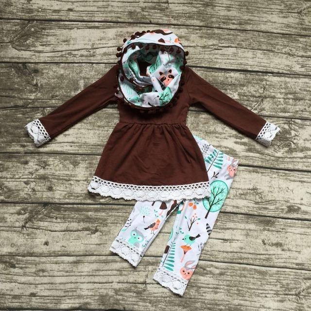 2016 nova OUTONO/Inverno cachecol definir crianças terno do bebê coruja raposa animais meninas 3 peças marrom calças mangas compridas boutique de roupas crianças