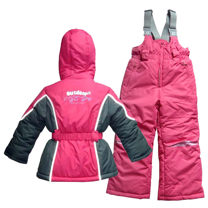 Boys Girls Baby Sets jacket Bib Ski suit Very Warm Thick Jacket Lining Fleece with Removable Undercoat Sheepskin Wool 1204