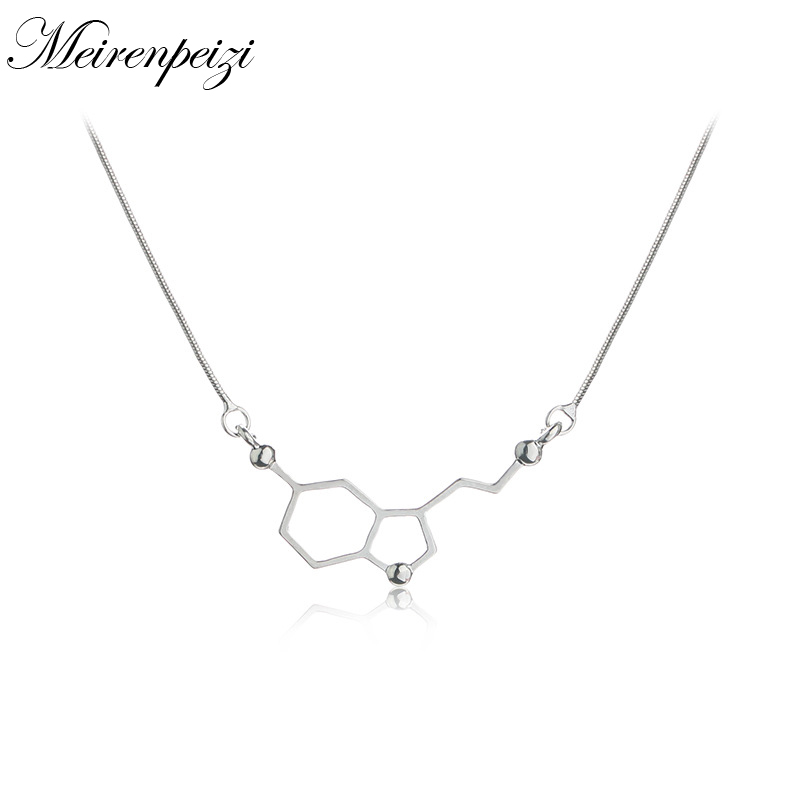 Serotonin chemical structure of molecules necklaces