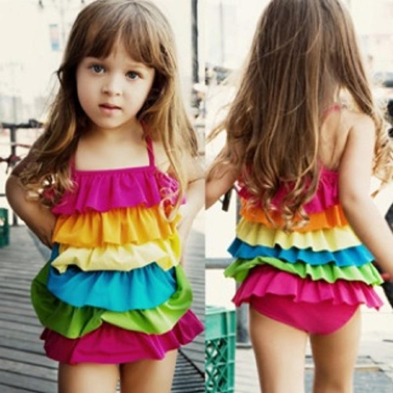 fadbb3b2a38df Rainbow Baby Girls Bikini Swimsuits Layers Children Swim wear Kids  one-piece Swimsuit swimming Bathing clothes Toddler