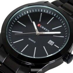 Moda Curren cuarzo casual completo acero negro negocios Militar hombre relojes impermeable reloj negro Relogio Masculino