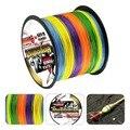 Super fuerte rainbow 500 m trenzado cables 100% fibra pe línea de pesca espectros multi-color de 4 hilos 6lb-80LB multifilamento línea