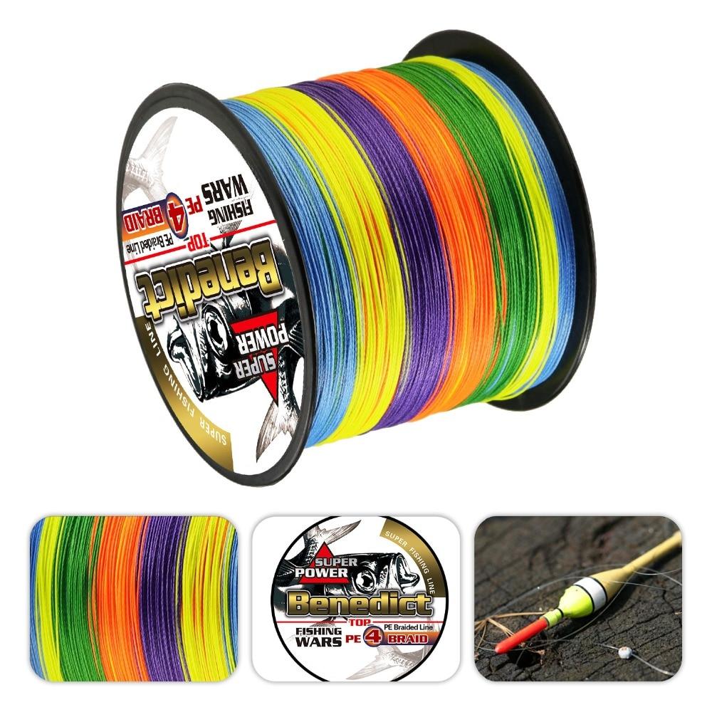 Super Strong Rainbow 500M cables trenzados Línea de pesca de fibra 100% PE espectros multicolor 4 hilos 6lb-80LB línea de multifilamento