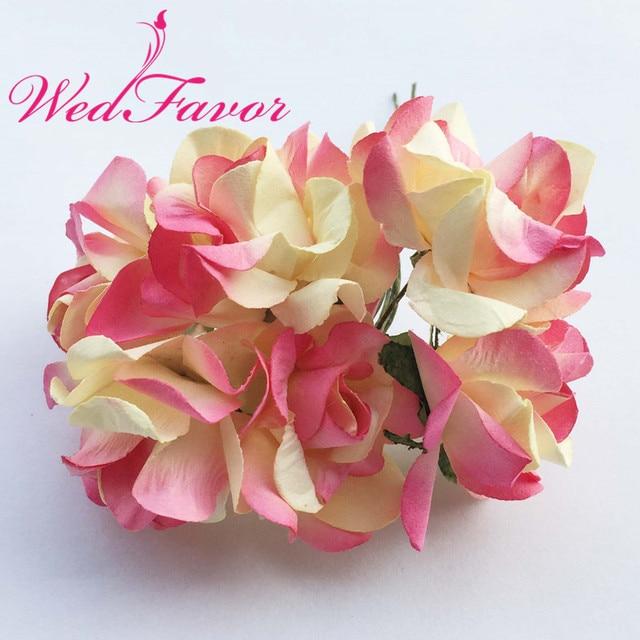 WedFavor 3.5cm Artificial Mulberry Paper Rose Flower Bouquet ...