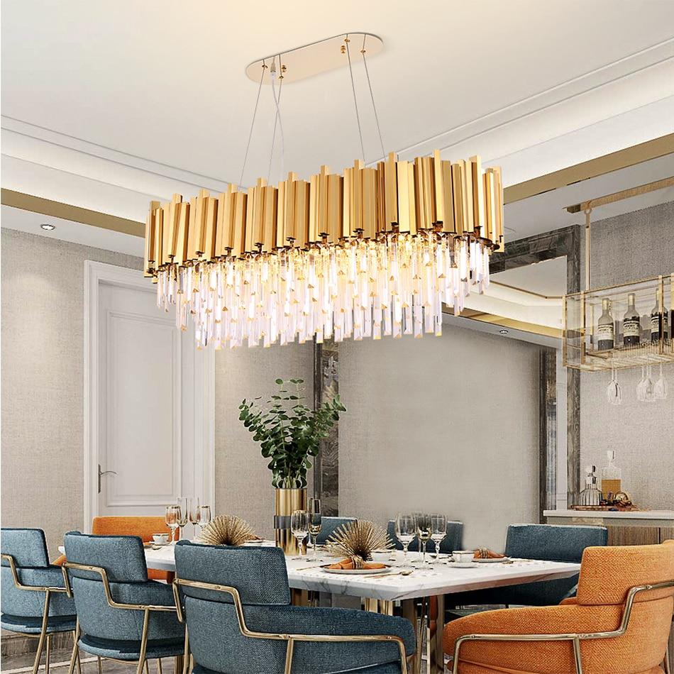 Rectangle modern chandelier lighting for dining room luxury led crystal lamp