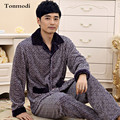 Hombres Otoño Y el Invierno Engrosamiento de Coral Polar Ropa de Dormir de Franela Salón Masculino de Manga Larga Conjunto de Pijama Más El Tamaño 4XL