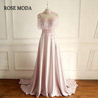 Rose Moda High Neck Short Sleeves Pink Formal Prom Dresses with Draping Crystals Long Lace Prom Dress Cut Out Back