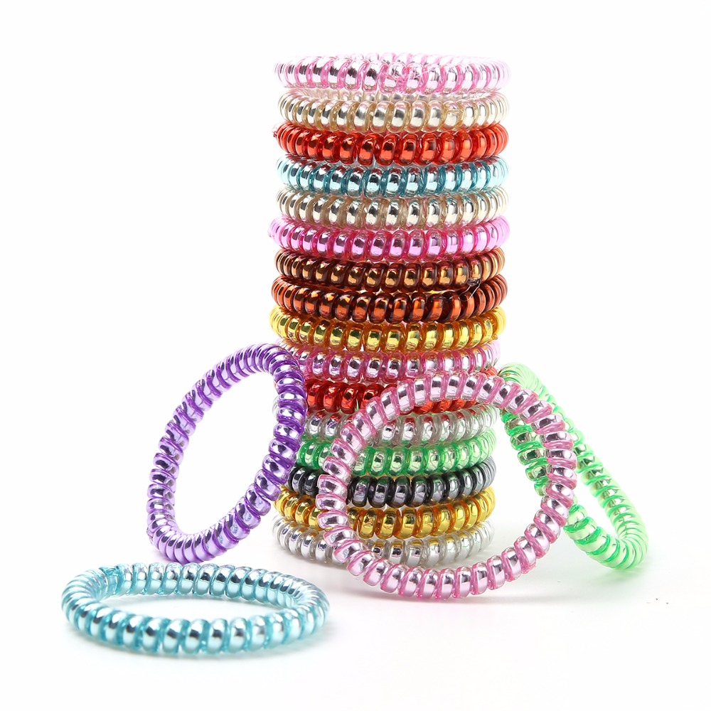 10Pcs/Pack Women Rubber Hair Rope Elastic Hairbands Spiral Shape Hair Ties   Headwear   Accessories Telephone Wire Line Headband