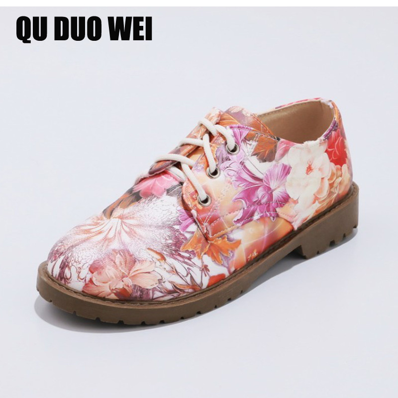 2018 Spring Women Flats Flower Embroider Casual Oxford Shoes Ladies Lace Up Ballerina Flat Shoes Manual Creepers Ballet Flats instantarts casual teen girls flats shoes appaloosa horse flower pattern women lace up sneakers fashion comfort mesh flat shoes