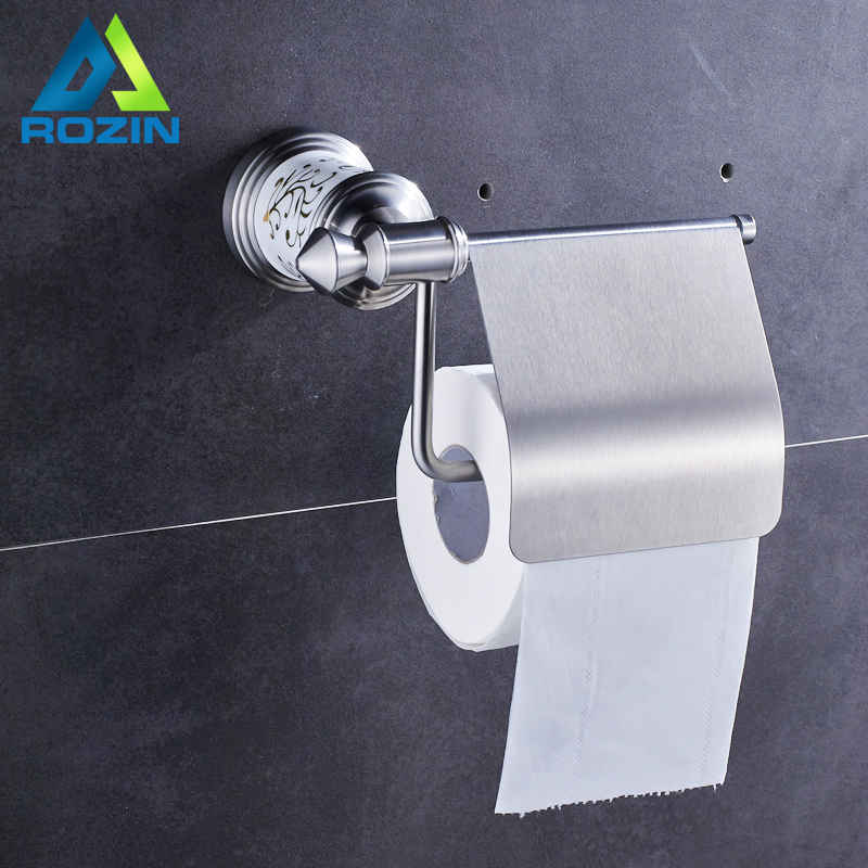 Brushed Nickel Ceramic Bathroom Paper Holder Rod Wall Mounted Toilet WC Toilet Paper Tissue Holder Free Shipping free shipping wall mounted black brass toilet paper holder ceramic tissue box bathroom accessory toilet paper holder bracket087