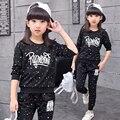 2016 Female Child Autumn Set Big Boy Girl 110cm-160cm Child Sports Sets Girls Children's Clothing Sets Kids Clothes Twinset