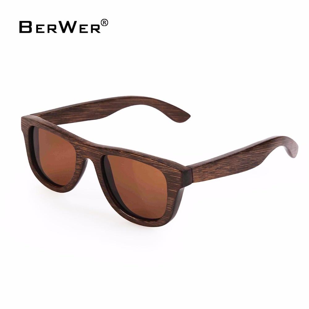 BerWer mørkere brun ramme liten størrelse bambus solbriller - Klær tilbehør