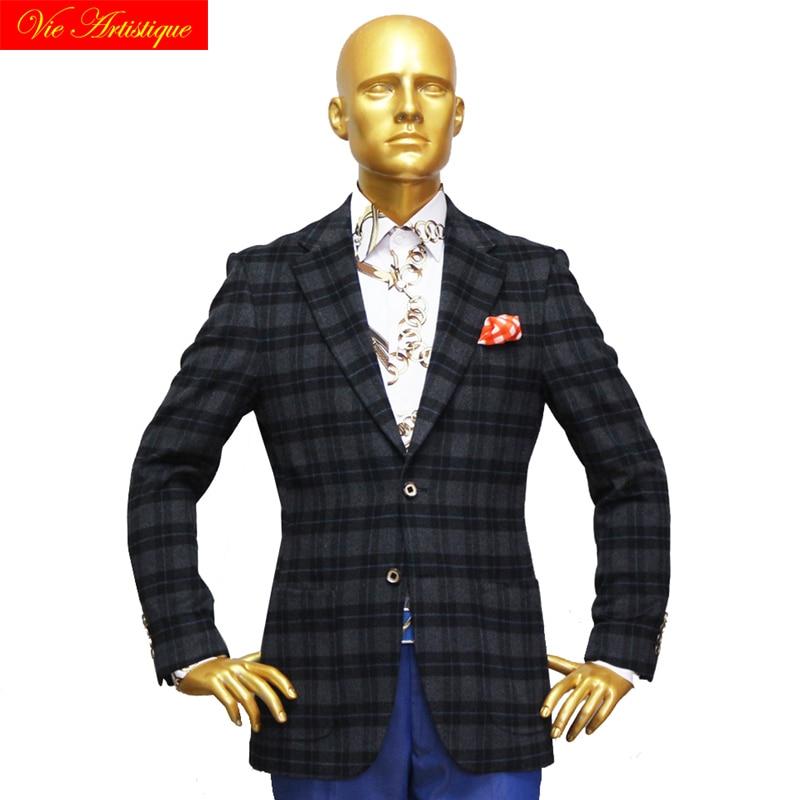 Custom Tailor Made Men's Bespoke Jacket Business Formal Wedding Ware Bespoke Coat Grey Plaid Wool Cashmere Slim Fit 2019