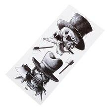 Готический Череп водостойкие наклейки для татуировки Мужские Классные очаровательные наклейки на руку с цветами вечерние наклейки на грудь