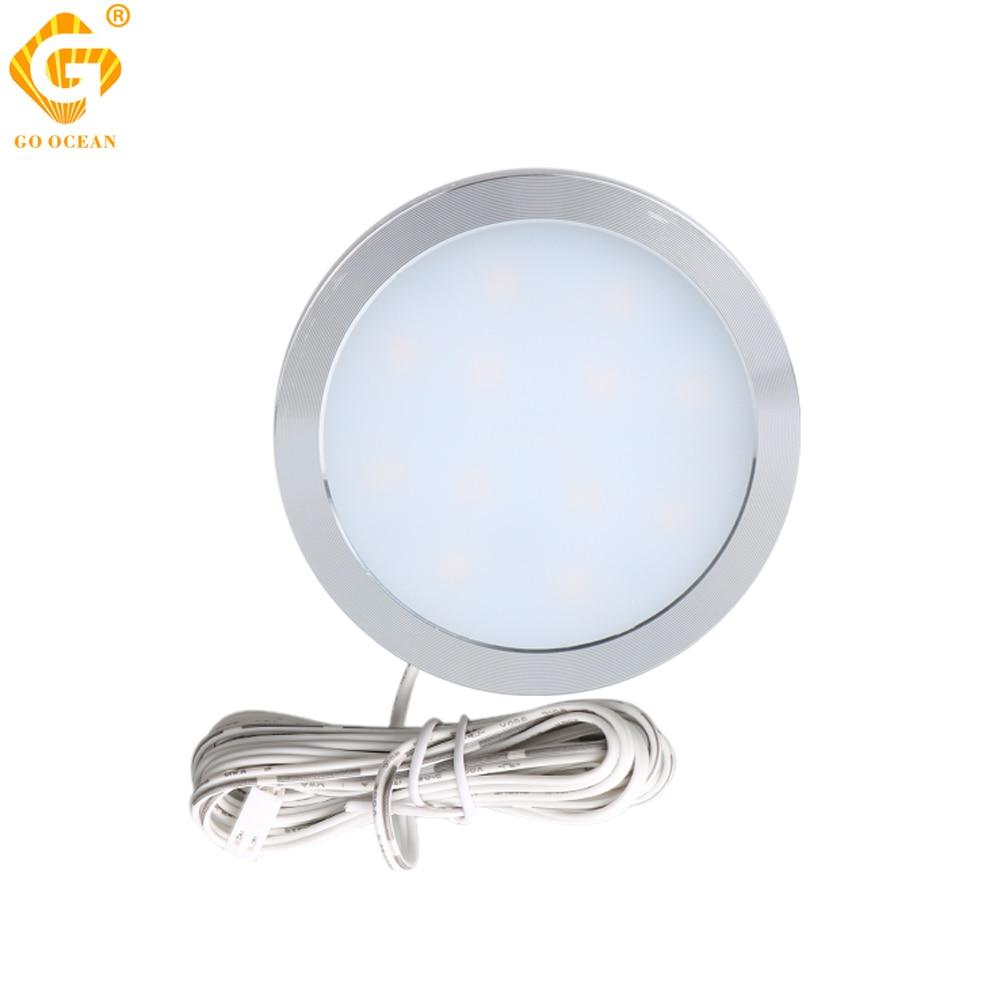 LED Under Cabinet Closet Light 2.5W 12V/DC Aluminum LED Display Case Lights Lighting For Kitchen Counter Cupboard Puck Lamps