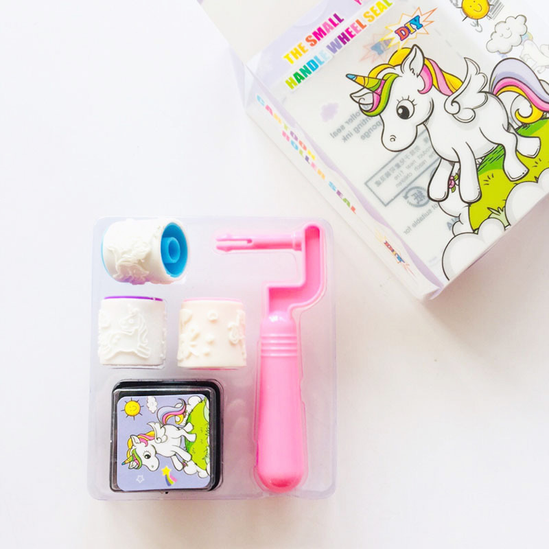 Cute Kawaii Cartoon Unicorn Child DIY Scrapbook Kids Roller Stamp Set Cartoon Stamps Scrapbooking Reward Toy