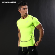 NANSHA New Compression Shirt short Sleeves T-shirt GYMS Fitness Clothing Solid Color Quick Dry Bodybuild Crossfit Tops