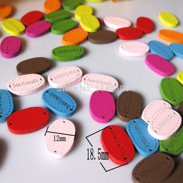 Étiquette décorative à boutons en bois 200 pièces/lot   plaque décorative, marque étiquette faite à la main, pour bricolage, boutons en vrac décoratifs pour artisanat