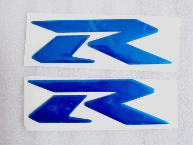 Blue 3d raised r sticker decals emblems for suzuki gsxr gsxr600 750 1000 side fairing 1