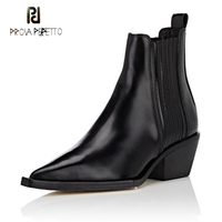 Prova Perfetto fashion concise women ankle boots chunky high heel slip on pumps genuine leather black white martin boots females