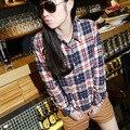 2017 Women Button Cotton Casual Lapel Shirt Plaids Checks Flannel Shirt Top Blouse M~XXL