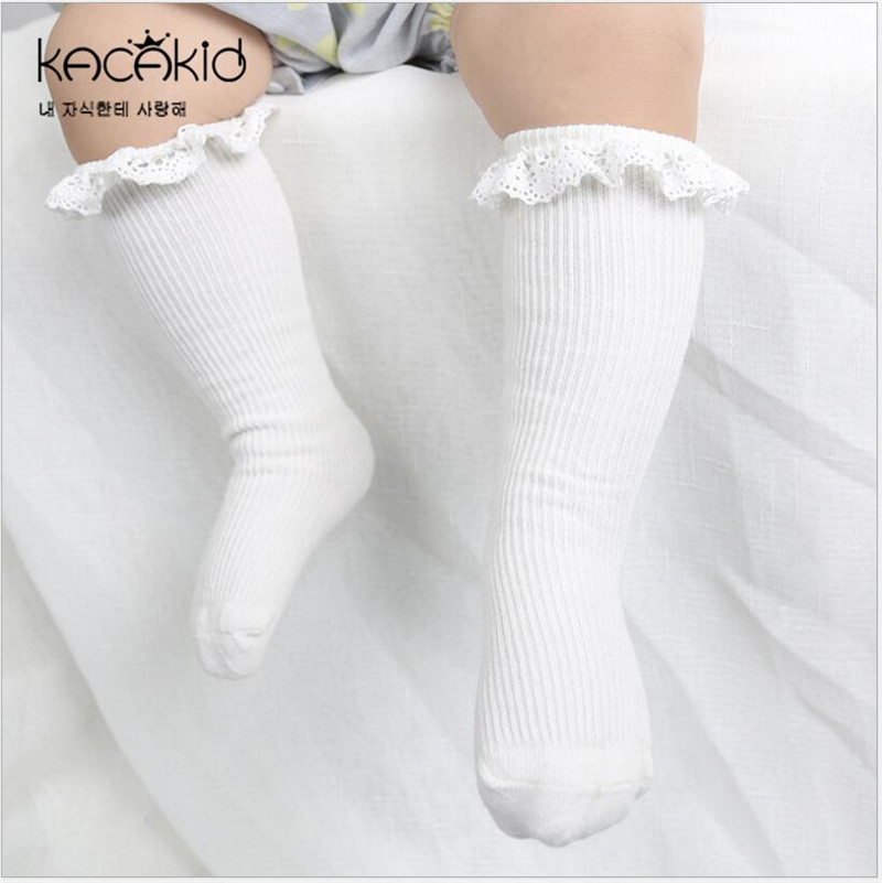 Baby Toddlers Girls Lace Trim Knee High Long Soft Cotton Lace Ruffle Socks Kids