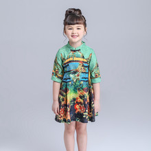 Retail New 2016 autumn baby girl dress Chinese Style girls clothes fashion print O-neck dresses