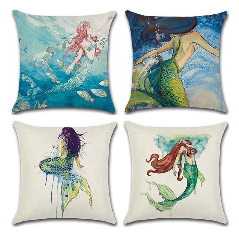 New Mermaid Cartoon Cushion Cover Printed Soft Linen Throw Pillowcase for living room Seat Waist Pillow Decorative funda cojin