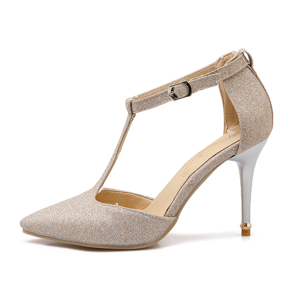 BONJOMARISA 2018 Plus Size 32-47 Thin High Heels t-strap Woman Pumps Sandals Fashion Sexy Lady Date Party womens Shoes