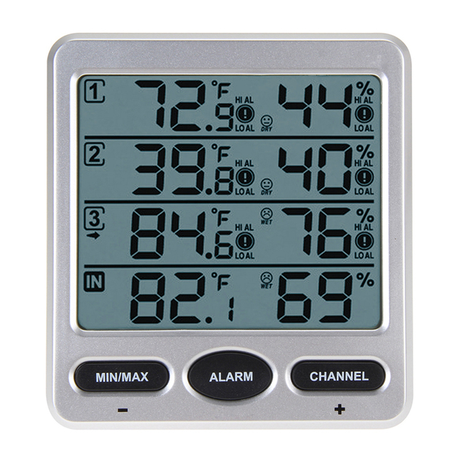 WS 10 LCD Digital Thermometer with 3 Remote Sensor Hygrometer Indoor ...