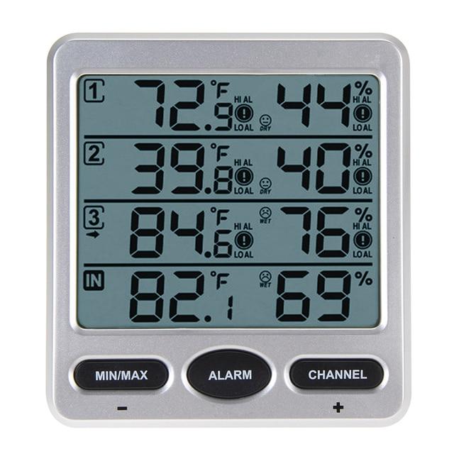 Ws 10 lcd num rique thermom tre avec 3 distance capteur for Thermometre exterieur wifi