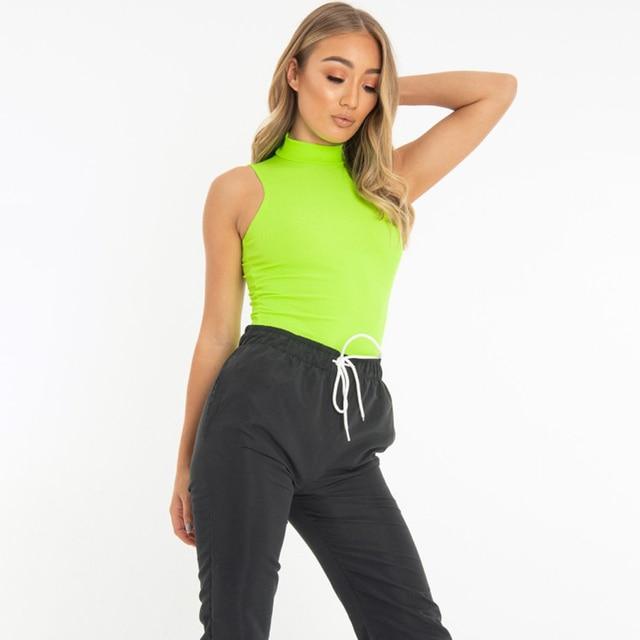 Women sleeveless bodysuit turtleneck sexy Women's Bodysuits