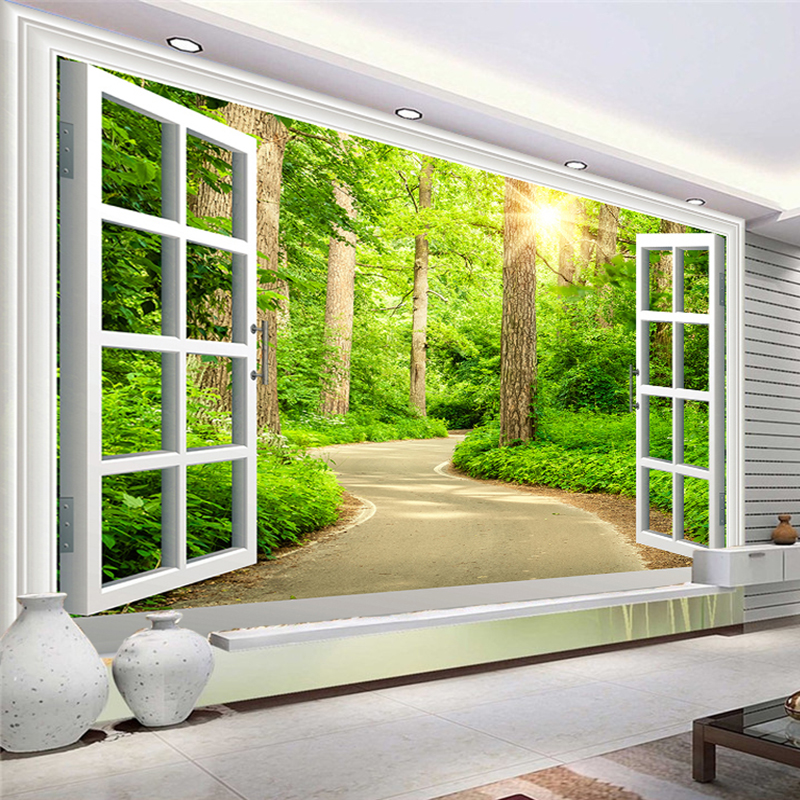 Custom Photo Wallpaper HD Green Fresh Path Sunshine Forest Nature Landscape 3D Wall Mural Living Room TV Sofa Backdrop Wallpaper custom 3d stereoscopic large mural space living room sofa bedroom tv backdrop 3d wallpaper woods nature