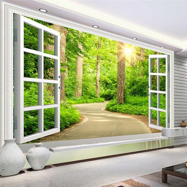 Custom Photo Wallpaper Hd Green Fresh Path Sunshine Forest Nature