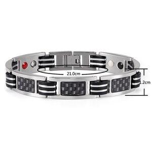 Image 2 - Rainso Chain Bracelets Men Jewelry Energy Magnetic Health Bracelet  Brazil Style Couples Black Titanium Bracelets Handmade