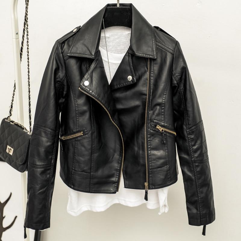 Cheap Price Women Biker Leather Jacket Black Color Fashion Woman Short Dress Suit Leather Suede Coat Girls Streetwear 2019 B444